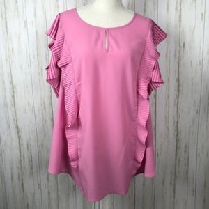 Lane Bryant Pink Pleated Cold Shoulder Blouse 26